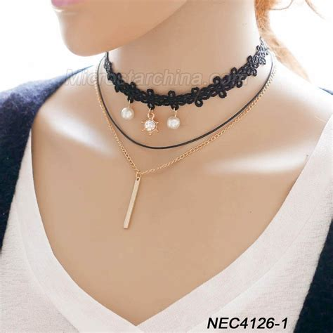 tattoo necklaces back in style 2016 fashion woman hot sexy black lace multi layers fancy