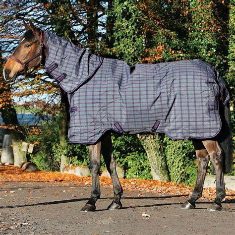 rhino rug rhino plus mediumweight 200g turnout rug charcoal purple check redpost equestrian
