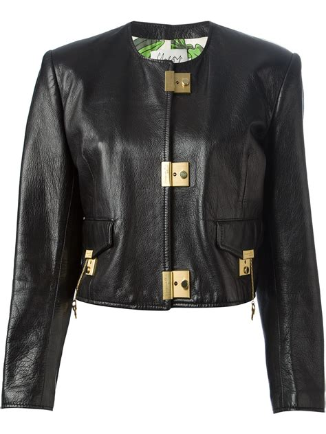 Sale Jacket 3 In 1 World Chion moschino key lock cropped jacket in black lyst