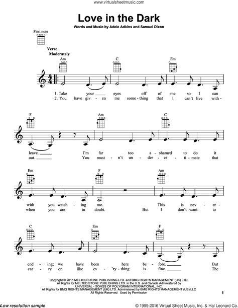 adele love in the dark adele love in the dark sheet music for ukulele