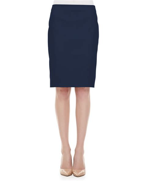piazza sempione sateen back slit pencil skirt navy