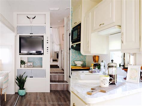 tiny kitchen remodel the reveal of our rv kitchen renovation our 5th wheel rv renovation reveal the gler life as