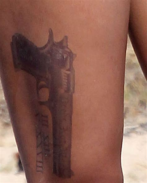 rihanna gun tattoo designs rihanna gun on leg
