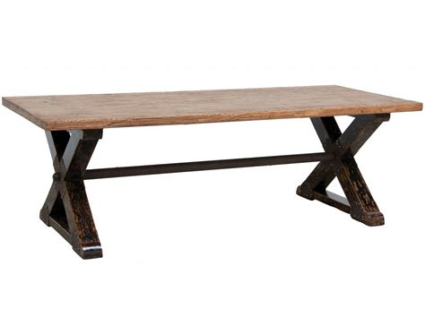 Wood Dining Table Base Dining Table 94 Quot X Base Industrial Solid Wood Dining Table Zin Home