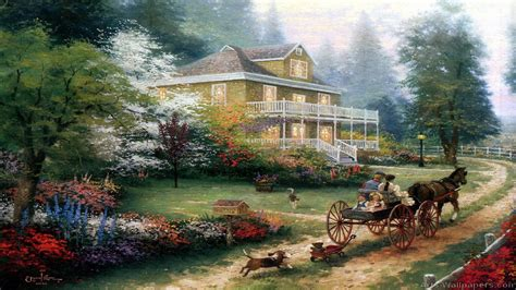 kinkade cottage painting kinkade paintings walldevil