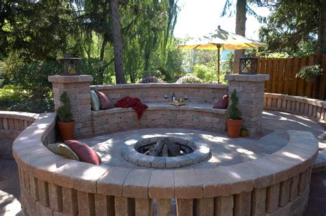 Unilock Permeable Pavers Unilock Fire Pit Patio Wall