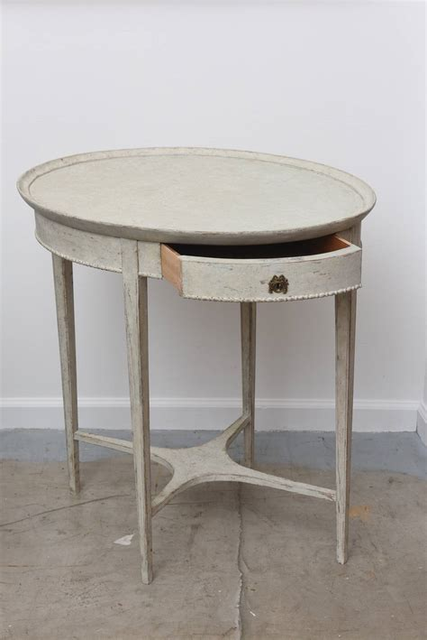 Oval Side Table by Antique Swedish Oval Side Table With Drawer 19th Century