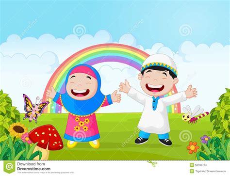happy muslim kid cartoon waving hand  rainbow stock