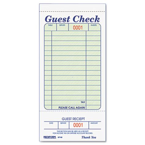Guest Receipt Template by Rediform 174 Guest Check Book At Nationwide Industrial Supply