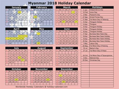 Myanmar Calendar 2018 Myanmar 2018 2019 Calendar
