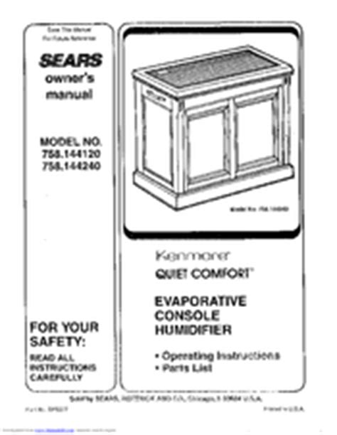 kenmore quiet comfort 7 humidifier filter sears kenmore quiet comfort 758 144120 manuals