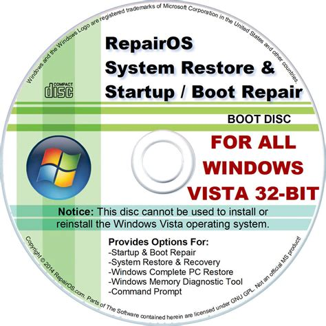 boot repair disk system restore recovery startup boot repair cd disc for
