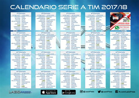 Calendario Serie A 2017 18 Serie A 2017 18 Scarica Il Calendario Pdf Di Laziopress