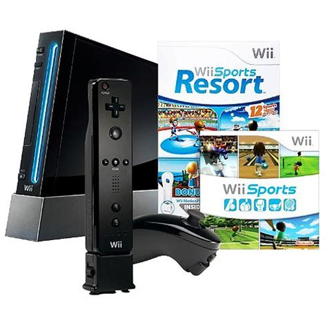 nintendo wii console black nintendo wii console with sports resort black walmart