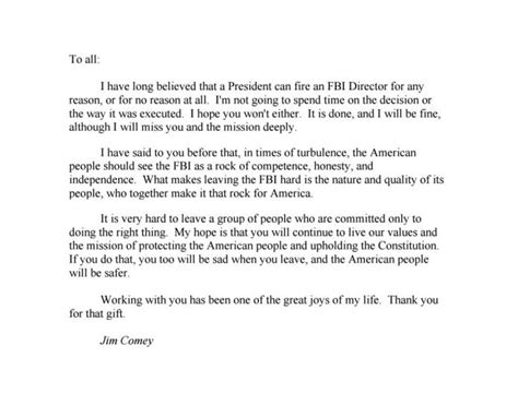 farewell letter to colleagues comey s farewell letter to his fbi colleagues matzav