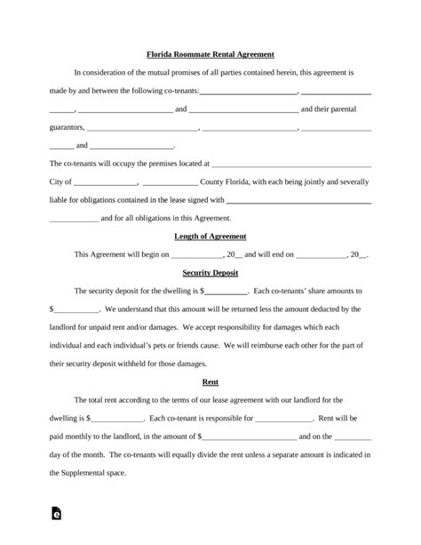 Free Florida Roommate Room Rental Agreement Template Word Pdf Eforms Free Fillable Forms Florida Month To Month Lease Agreement Template