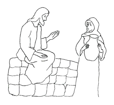 free coloring pages of women at the well