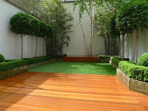 Townhouse Backyard Landscaping Chelsea Garden Design Hardwood Decking Artificial Grass