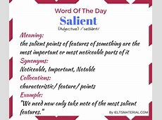 Salient - Word Of The Day For IELTS Speaking And Writing Ielts Speaking Part 2 Questions