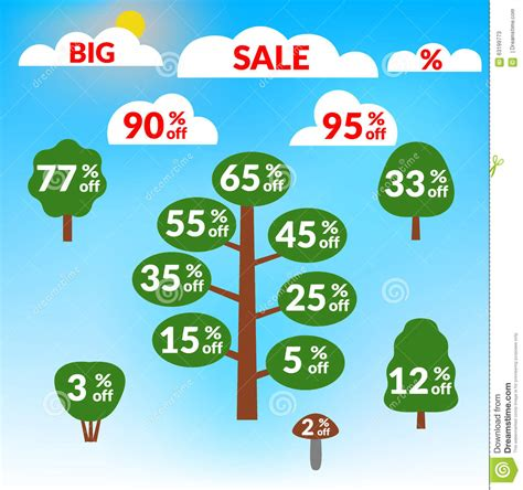 Sale Trees Blue sale tree on blue background stock vector image 63199773