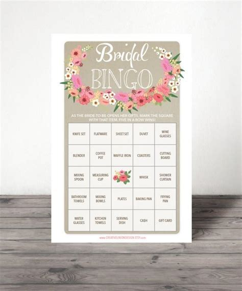 Bridal Shower Bingo Game   76 Unique Game Sheets   Wedding