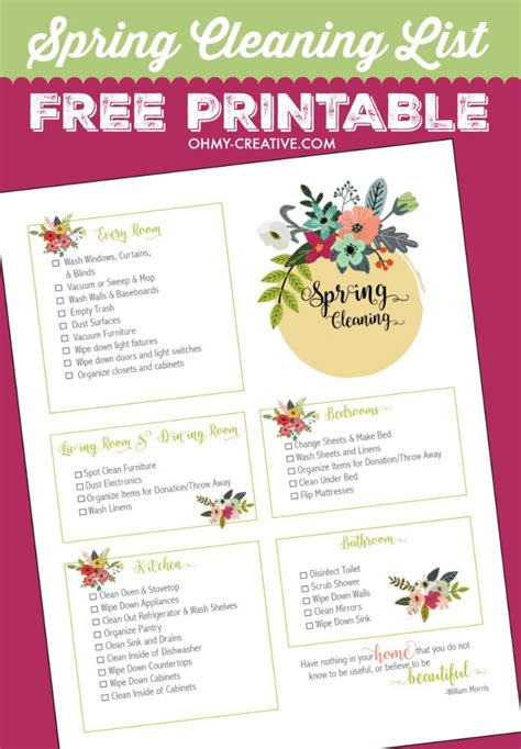 printable house cleaning spring cleaning checklist free printable oh my creative