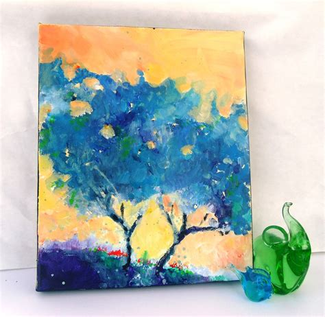 acrylic paint canvas abstract abstract tree original acrylic painting on small canvas blue