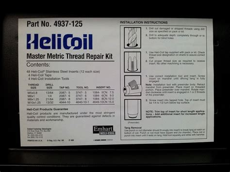 Tap Recoil Set M6x1 0 Grip On Thread Repair System Set Helicoil Helicoil Inserts Helicoil Thread
