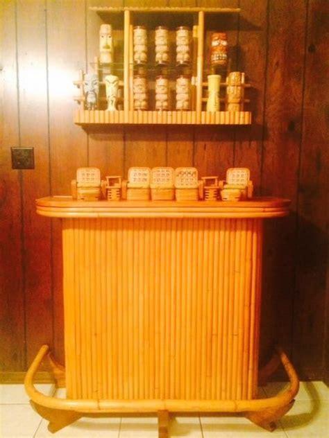 Hawaiian Style Bar Stools by Vintage Rattan Tiki Bar 4 Bar Stools Hawaiian Mid