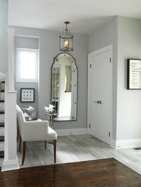 Gray walls transitional entrance foyer ici dulux silver cloud sarah richardson design