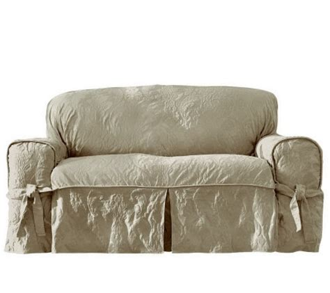 damask sofa slipcover sure fit matelasse damask sofa slipcover page 1 qvc com
