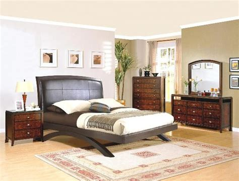 fifth avenue faux leather headboard 6 bedroom suite in cocoa finish by crown h5190