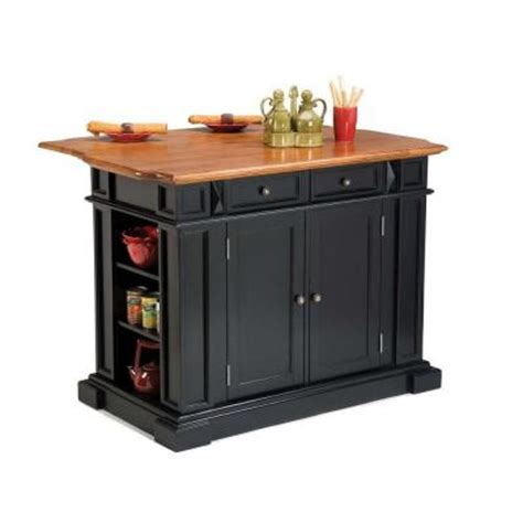 kitchen island at home depot home styles kitchen island 49 3 4 in w in black and oak
