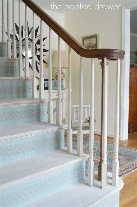 chalk paint stairs whitewashed stairs www thepainteddrawer foyers and