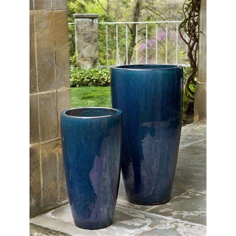 rioja extra tall ceramic planters blue kinsey garden decor
