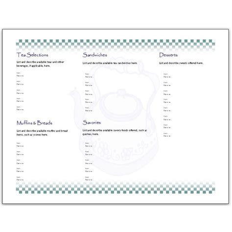 folded menu template hosting a tea an afternoon tea menu template for