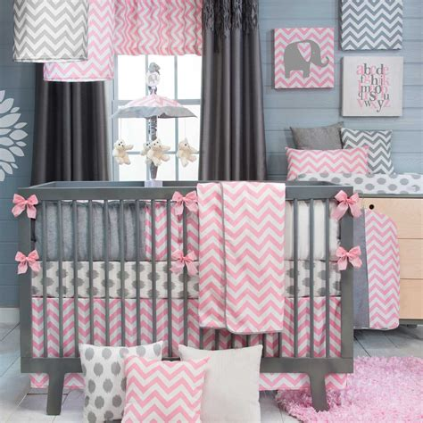 21 Inspiring Ideas For Creating A Unique Crib With Custom Gray And Pink Chevron Crib Bedding