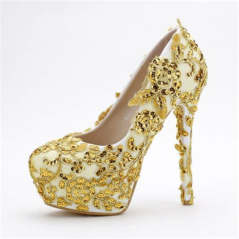 gold colored high heels s pumps wedding shoes gold color shoes glitter high