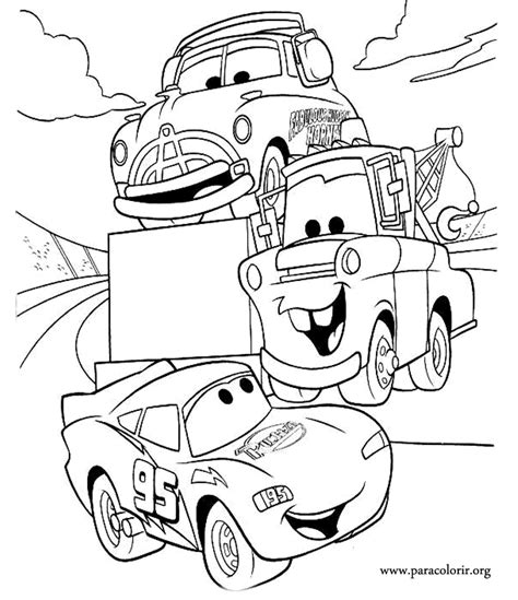 Cars Lightning Mcqueen Coloring Pages cars lightning mcqueen tow mater and doc hudson coloring page