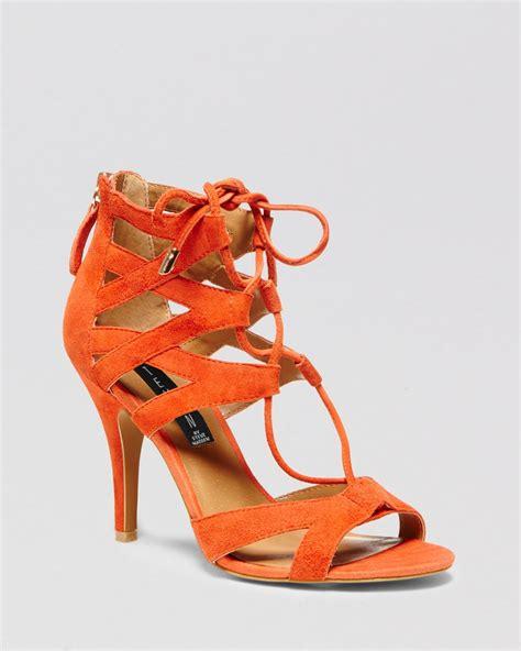 orange sandal heels lyst steven by steve madden open toe sandals gingir