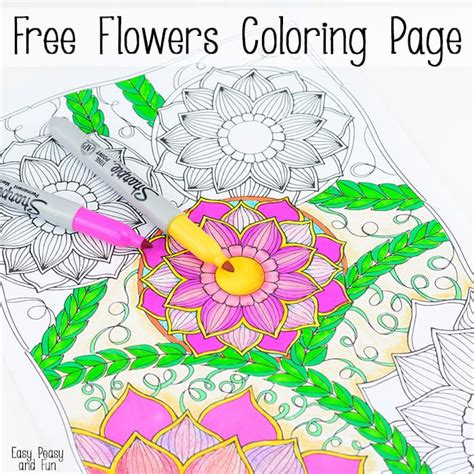 flowers coloring page easy peasy and fun