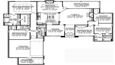 five bedroom house plan 1 story house plans with bat