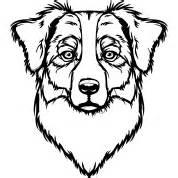 Australian Shepherd Portrait Tags Dark  sketch template