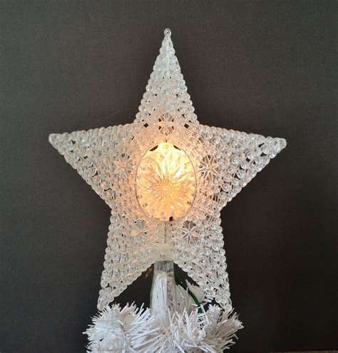vintage light up christmas tree topper white crystal filigree