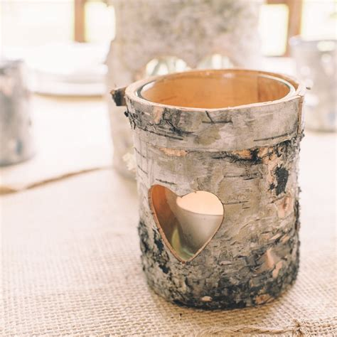 rustic bark tea light holder set of 3 the wedding of