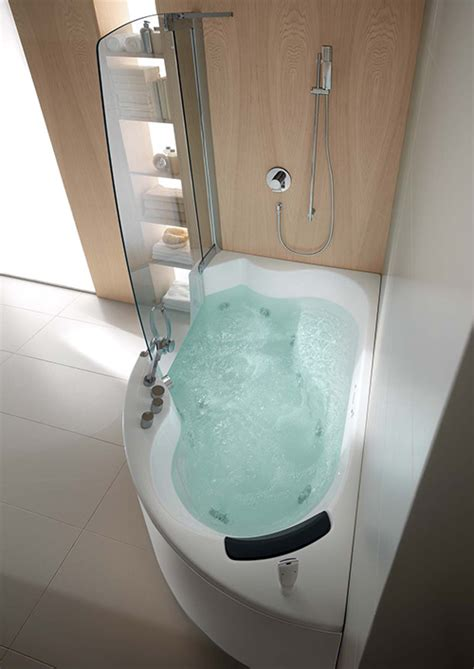 corner jetted tub and shower combo