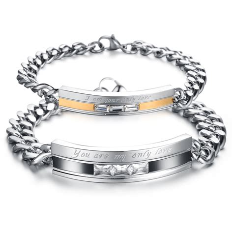 his hers matching couples stainless steel bracelets