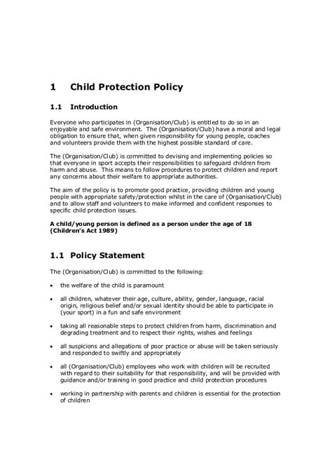 Template Cpsu Child Protection Policy Child Care Policies And Procedures Template