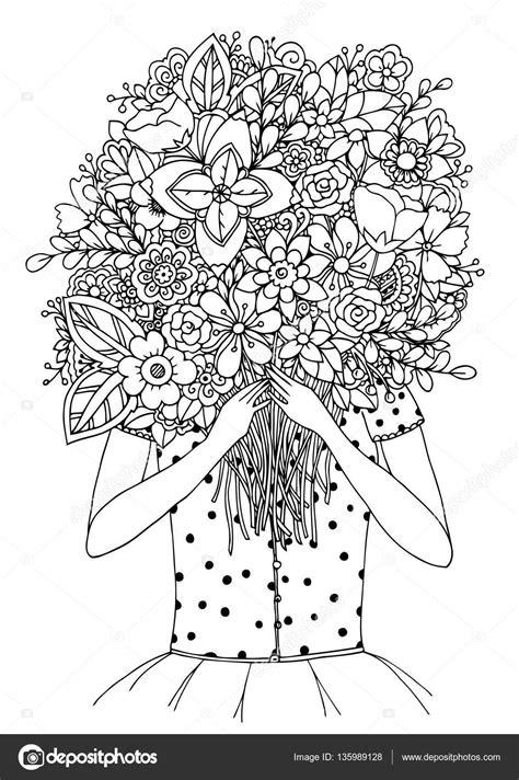 Zentangl de ilustração vetorial, uma menina e buquê de
