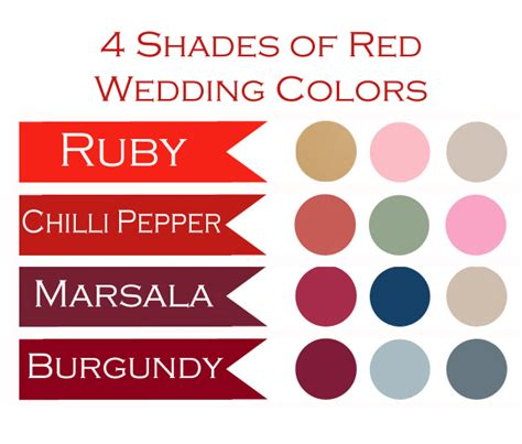 color combination ideas 4 shades of wedding colors
